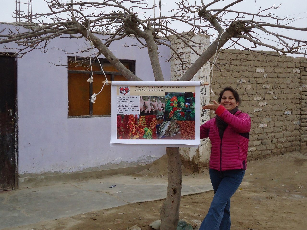 "Gabriela Uchuya during a ""walk around"" hung her presentation from a tree"