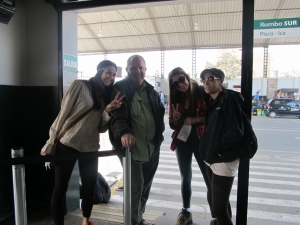 From left to right: Caitlin, John, Katie and Alisa at the bus terminal in Chincha